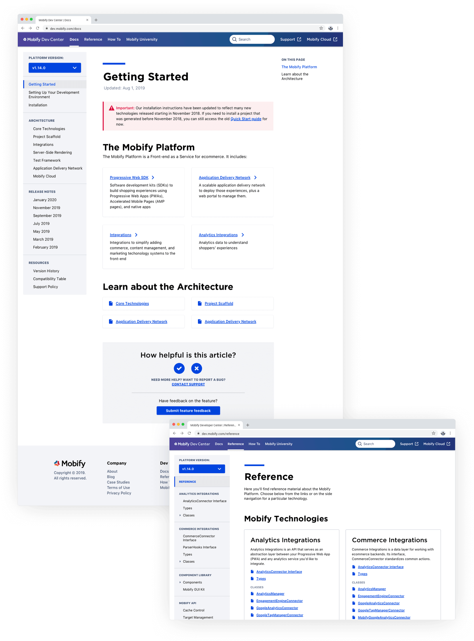 2 screens overlapping one another showing the Developer Center Docs page and the Reference page