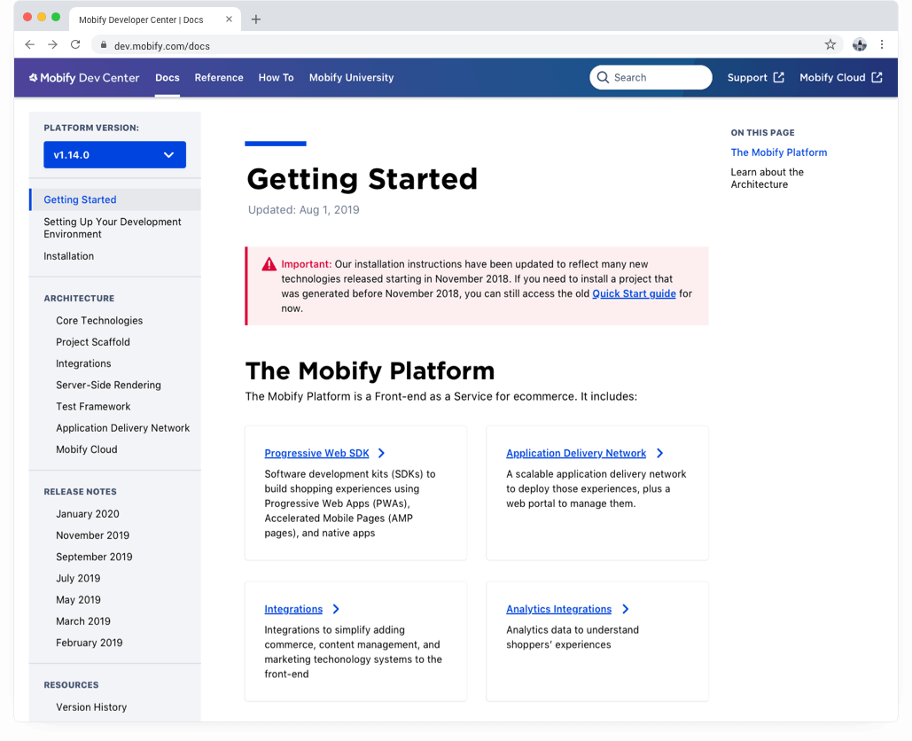 Mobify Developer Center Docs Home website