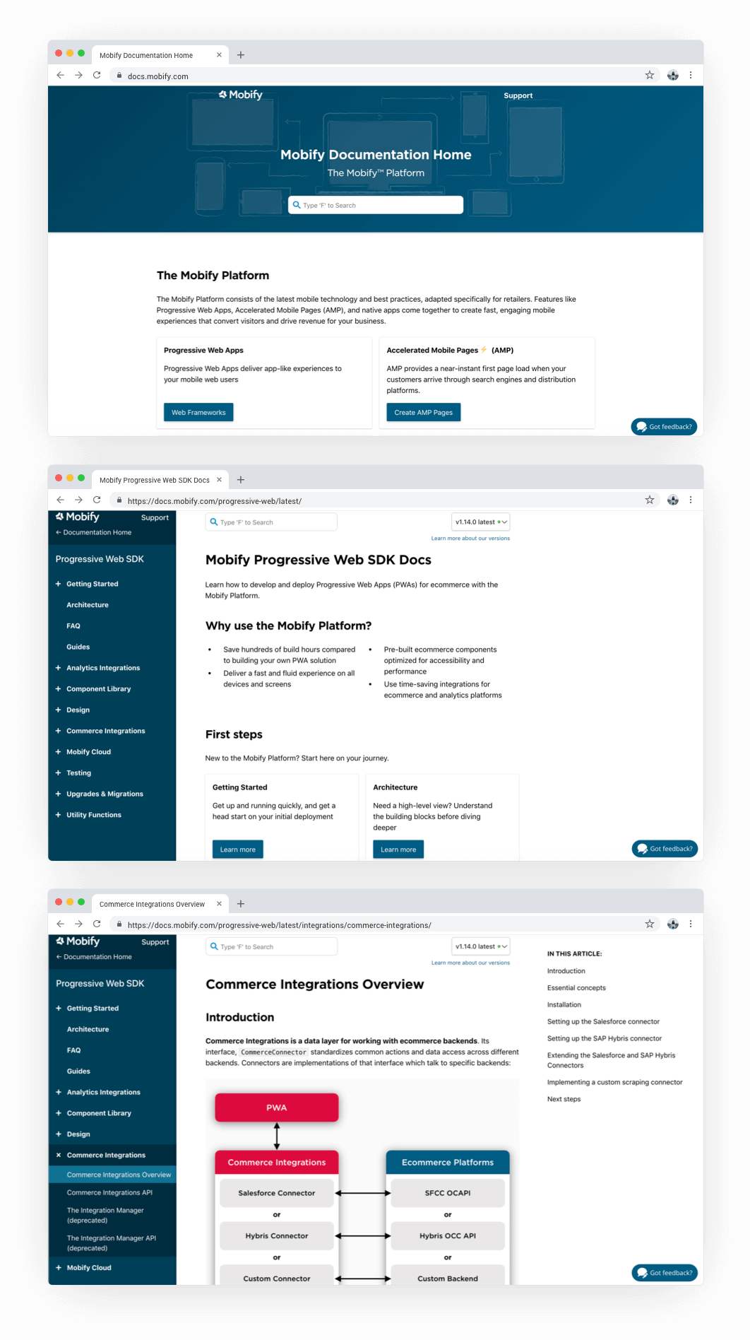 3 website screens showing the old Mobify Docs Home page, the Progressive Web SDK page, and the Commerce Integrations Overview page