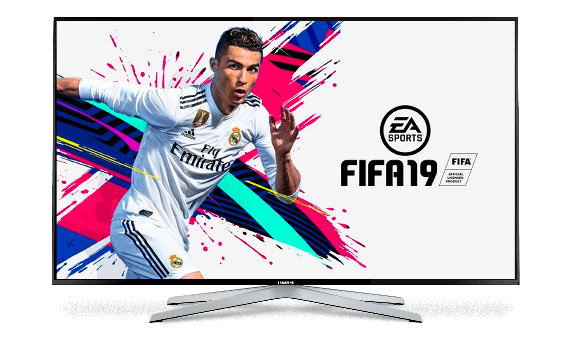 TV Screen showing the FIFA Ultimate Team 19 Console Game loading screen with Ronaldo