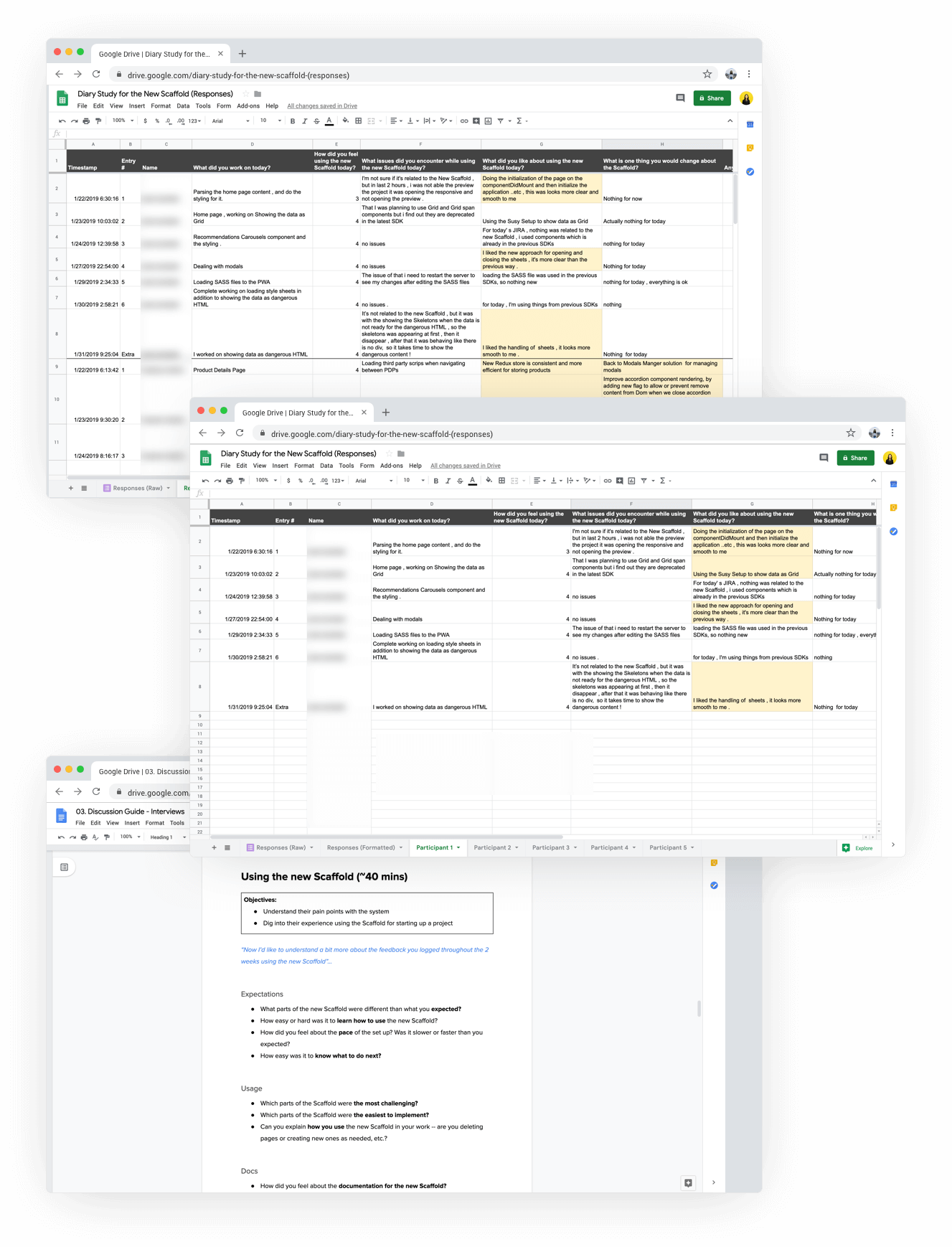 3 web browser screens showing a spreadsheet of participant responses and the Discussion Guide document